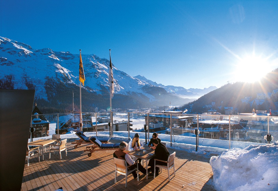 Monopol St Moritz Switzerland Dining Room View From In Winter By Day