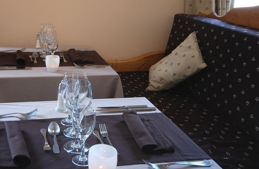 Hotel Plein Sud dining room in the ski resort of Serre Chevalier, France