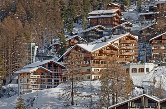 The Hotel Schonegg exterior 3 in the Ski resort of Zermatt, Switzerland