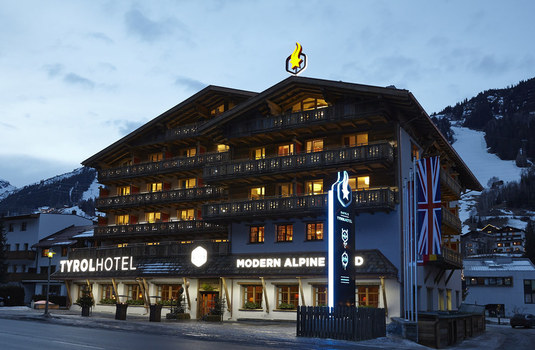 Tyrol Hotel at night