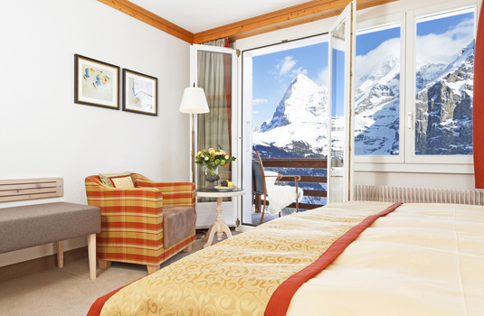 Resort carousel hotel eiger superior double bedroom murren switzerland