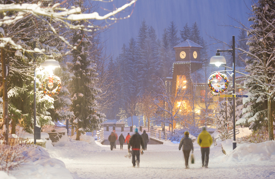 christmas in a ski resort