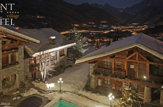 Exterior of ski hotel mont blanc in Courmayeur