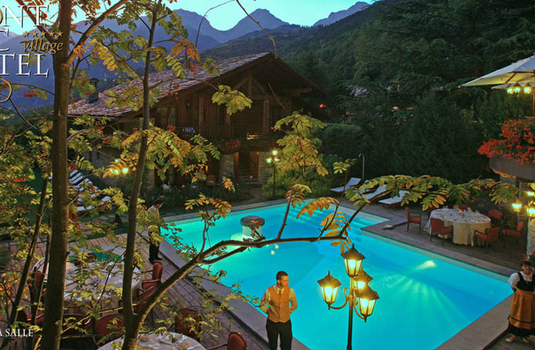 mont blanc in Courmayeur swimming pool