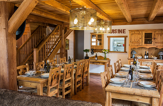 Resort carousel chalet chartreuse diningroom