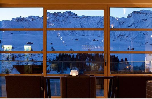 Resort carousel alpina dolomites window view