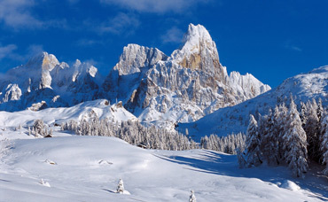 The snowy Dolomites