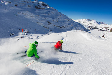 Two skiers in Switzerland