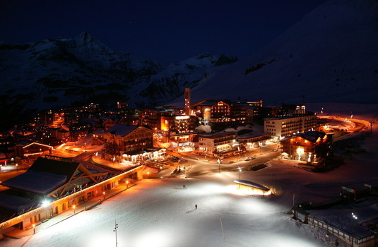 Tignes Village at Night