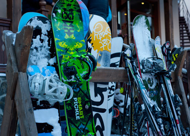 Ski rack with snowboards