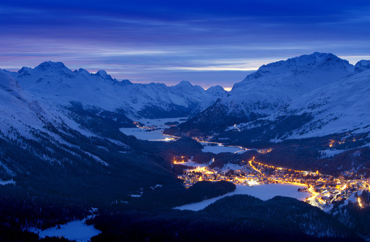 St Moritz Village at Night Aerial