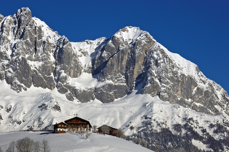 Aaustria mountains with chalet